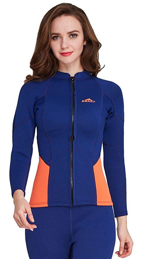 Cahayi 2mm Neoprene Long Sleeve Diving Jacket Front Zipper Women s Wetsuit  Top 1edaa4544