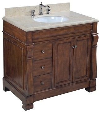 Westminster 36-in Bath Vanity (Travertine/Brown) - traditional - bathroom vanities and sink consoles - Kitchen Bath Collection $899