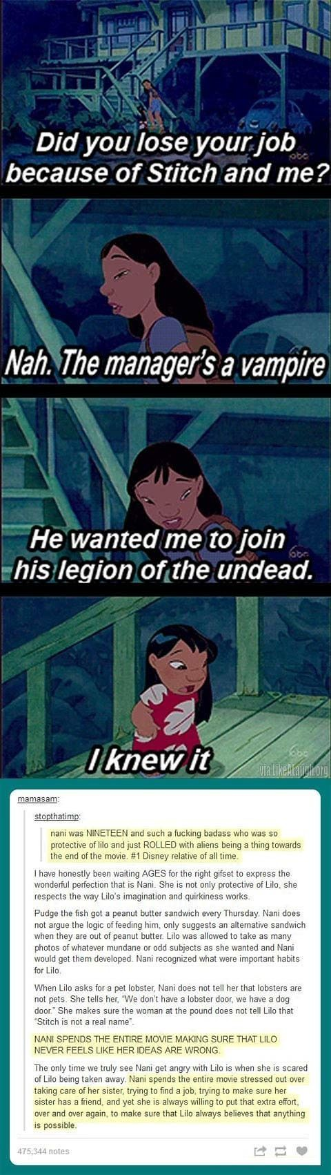 Okay so I didn't realize there was a tumblr post under this but wow. Lilo does have a wild and wonderful imagination and Nani is super awesome to support it. Honestly, the way Lilo thinks is the same way I think