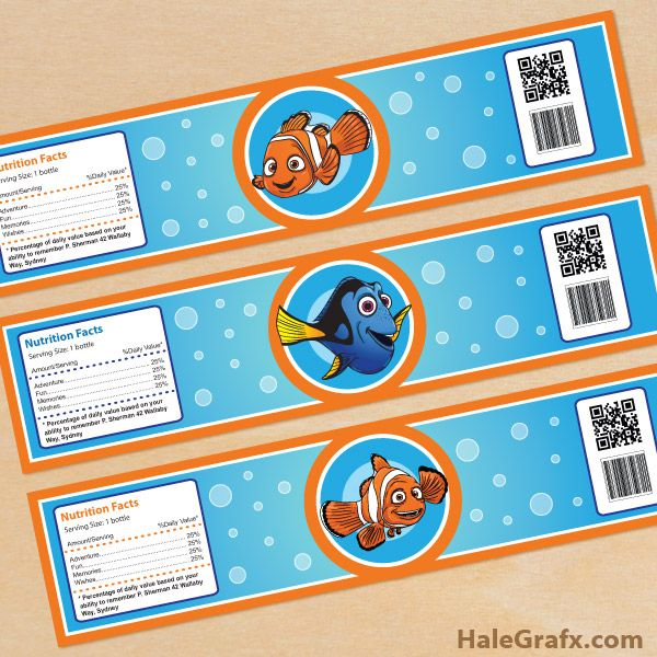 FREE printable Finding Nemo and Dory water bottle labels