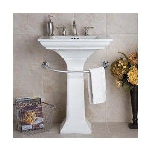 genius idea for a pedestal sink this bathroom towel bar wraps around the base of a pedestal sink to provide a handy spot for guest towels