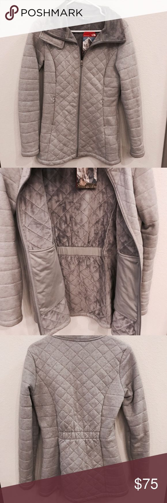 THE NORTH FACE Grey Caroluna Jacket NWT THE NORTH FACE Grey Caroluna Jacket NWT. Super warm with incredibly soft inner lining. Two zip closure pockets. Still retails on Nordstrom website for 120! The North Face Jackets & Coats