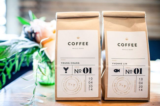 coffee branded favors with guest name, table number. Buy coffee at Costco and fill mini coffee bags