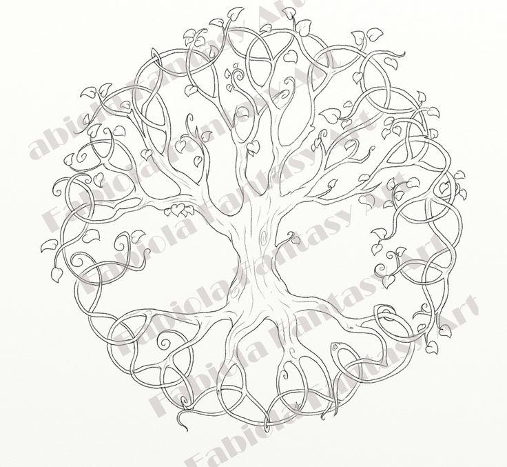 The tree of life downloadable digital stamp, New Version, scrapbooking, tattoos and coloring, pagan art, celtic art, adult coloring drawing by FairysWood on Etsy