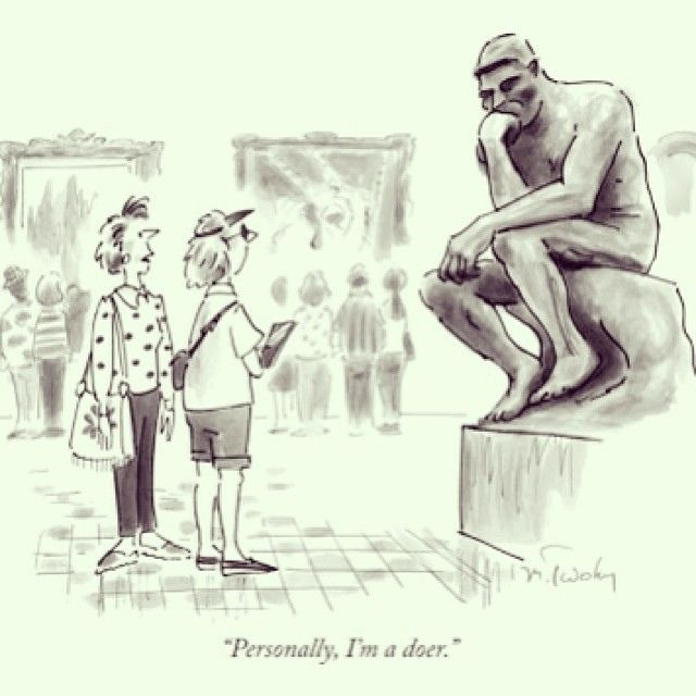 """#Rodin in #cartoons @ReneTheMovie: Mike Twohy - """"Personnaly, I'm a doer."""" #TheThinker #LePenseur on Flickr."""