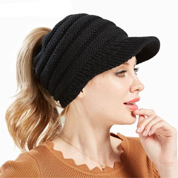 Ponytail Beanies Winter Hats for Women – Accessories