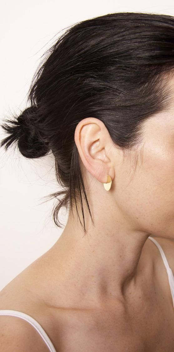 1ed014330c3f41 Mini three quarter disc earrings that sit perpendicular to the ear lobe  thanks to a delicately soldered stud post and a perfect ear lobe sized cut  out in ...