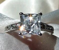 Vintage 3.5CT Russian Lab Created Cushion Cut Stainless Ring Sizes 6, 7