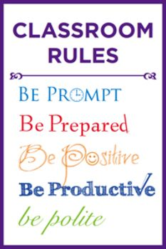 Free classroom rules poster for back-to-school.