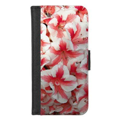 Red and White Azaleas Floral iPhone 8/7 Wallet Case - floral style flower flowers stylish diy personalize