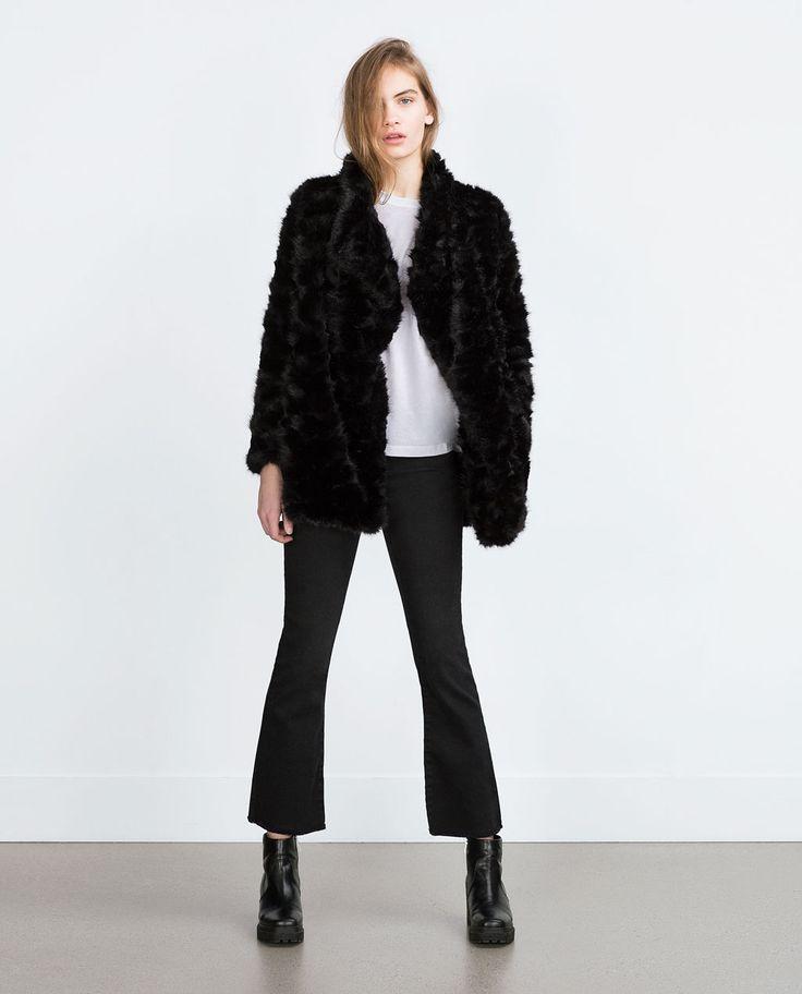 Image 1 Of Faux Fur Coat From Zara Fur Coat Coat Fur
