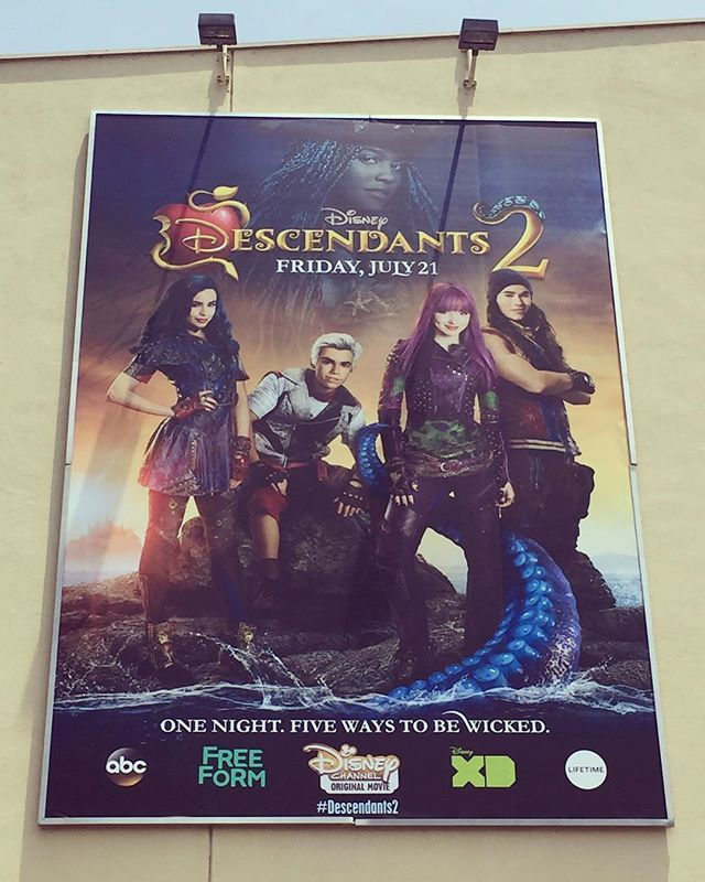 disneydescendants: The new billboard at the Disney Studio Lot is by far our favorite! #Descendants2