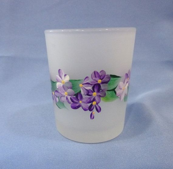 hand painted frosted vintage candle holders