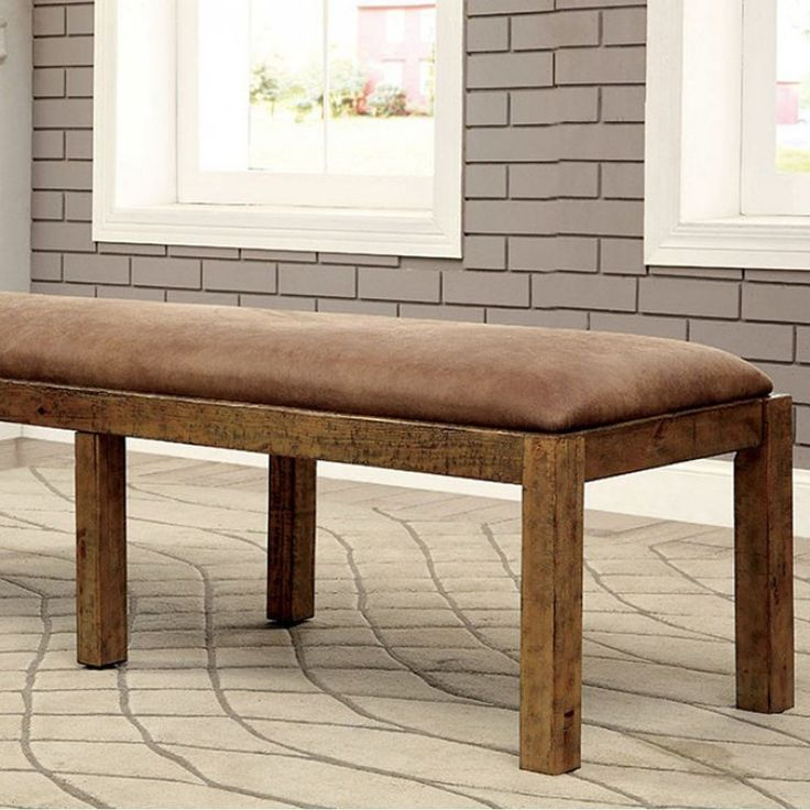 Benzara Gianna Rustic Pine Transitional Bench