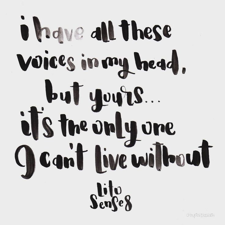 I have all these voices in my head, but yours… Is the only one I can't live without. Lito / Sense8 | quote | brush lettering | hand lettering | chrystalizabeth