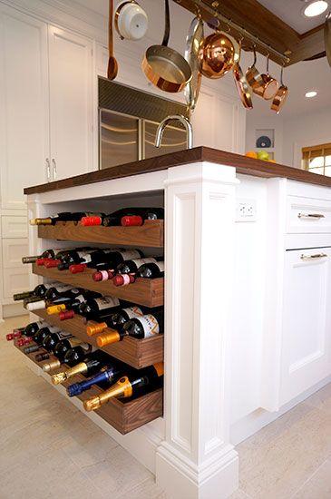 Custom 4-Tiered Walnut Wine Rack built into the island & Wood Countertop - White Kitchen Inspiration