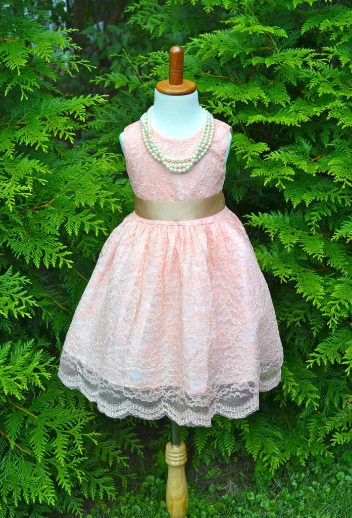 Blush Pink Coral Lace Flower Girl Dress, Coral Lace dress, Coral Wedding dress…