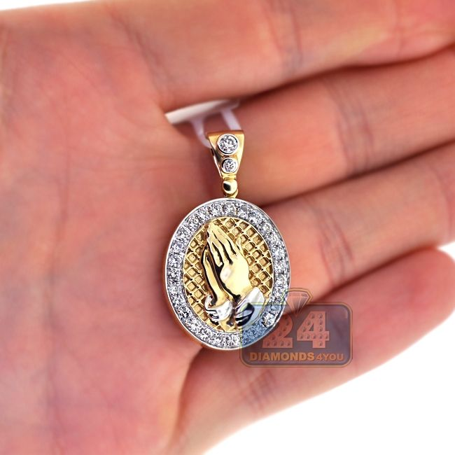 Mens Diamond Praying Hands Medallion 14k Yellow Gold 1 10ct Mens Pendant Plain Gold Pendant Medallion