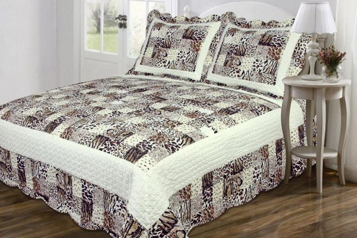3 PC Quilted Bedspread Coverlet, Multi Animal Print Patchwork Design, High Quality Brushed Microfiber King Size