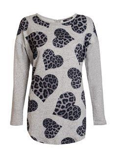 **Quiz Grey Leopard Print Heart Jumper