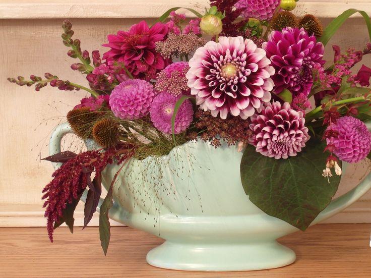 Autumn wedding centrepiece; British flowers.