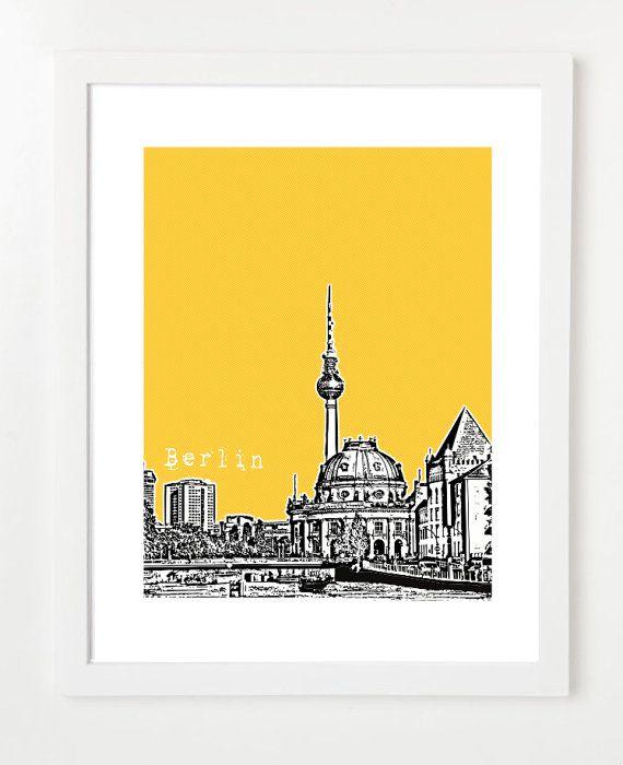 Berlin Poster - Germany City Skyline Art Print - 8x10