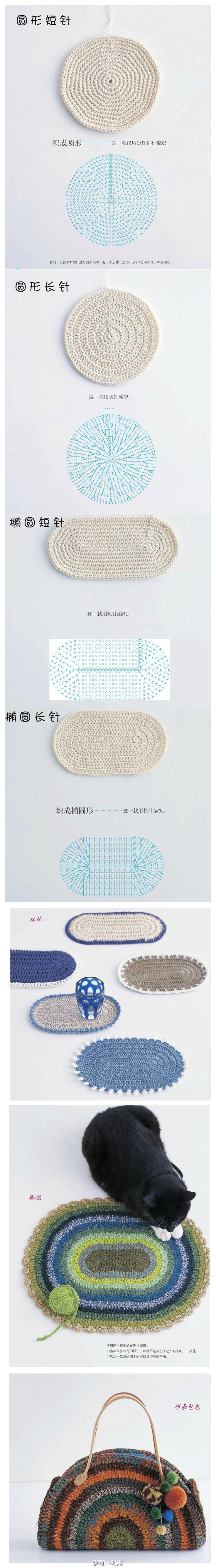 How to crochet different shapes like an oval and rectangle. Charts!