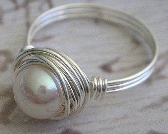 Anello ring Wire Wrapped bianco perla anello con di Perfections