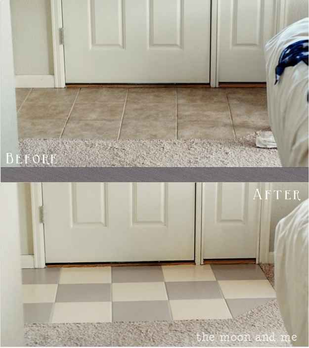 You can actually paint any ugly tile floors you're not crazy about. | 42 Ingeniously Easy Ways To Hide The Ugly Stuff In Your Home
