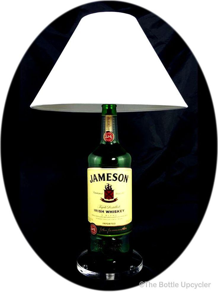 """All Lit Up"" Upcycled Jameson Liquor Bottle Lamp with Lamp Shade - http://www.bottleupcycler.com/shop/all-lit-up-upcycled-liquor-bottle-lamps-with-lamp-shade/all-lit-up-upcycled-jameson-liquor-bottle-lamp-with-lamp-shade/"