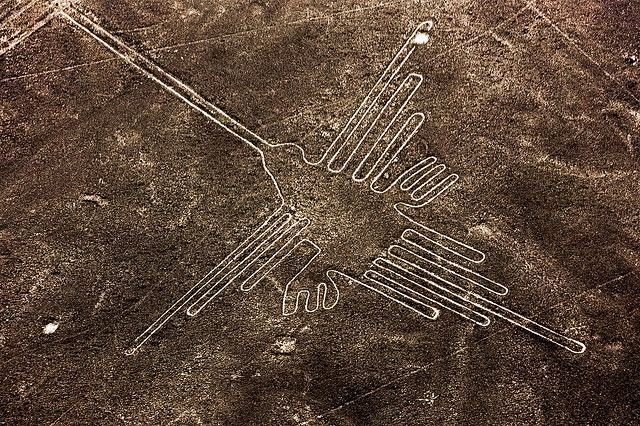 The best way to view the Nazca lines are by air. There are 70 of these ancient geoglyphs. Nazca, Peru.