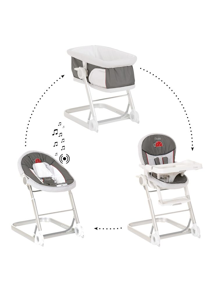 The versatile iCoo Grow With Me 123 combines three products in one. With a baby attachment, highchair attachment and a separate baby cot, the different modules can easily be mounted onto the lightweight aluminium frame in a couple of easy steps.With 2 wheels and a 3-way telescopic height adjustment, you'll always be able to watch your little one wherever you are.The baby cot features a soft mattress making it perfect for newborns. Place it next to your bed and keep an eye on your sleeping…