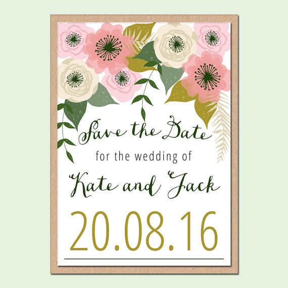 Romantic Floral Save the Date Wedding Stationery by papertreemedia