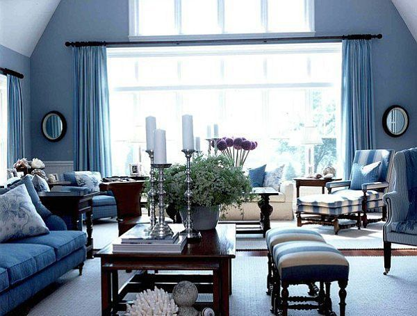 stylish living room design colored with blue tones