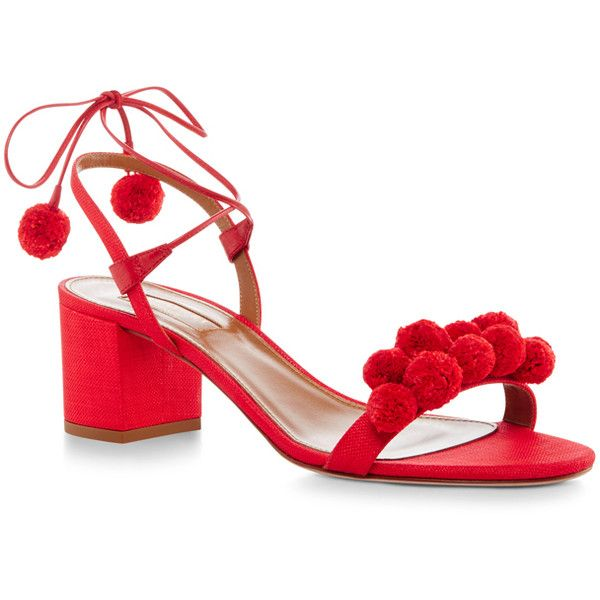 Aquazzura Pom Pom Lace Up Sandals ($438) ❤ liked on Polyvore featuring shoes ,