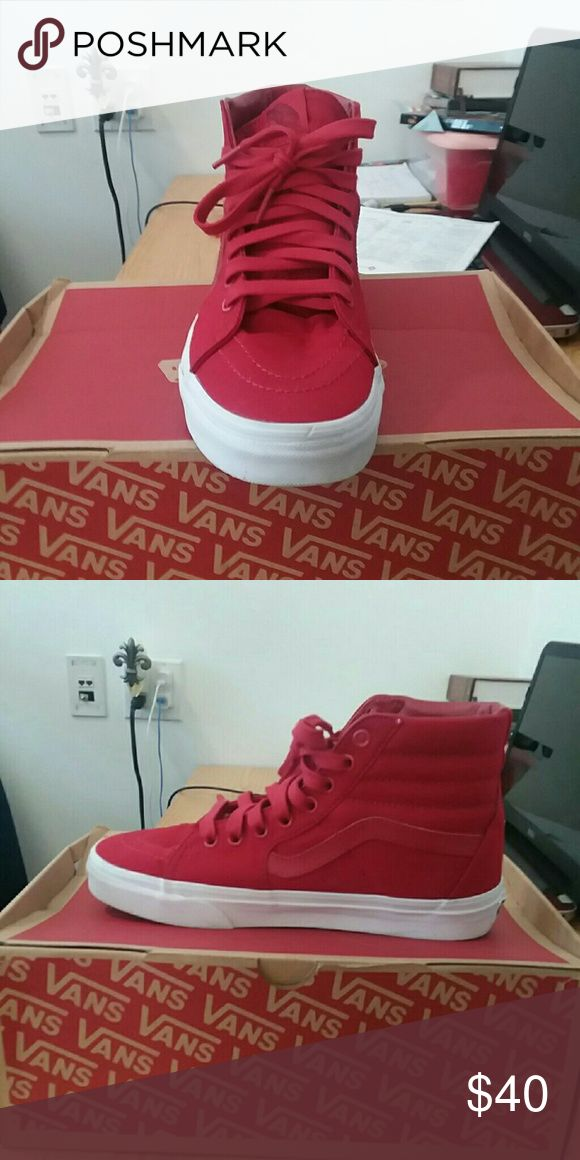 Red high top vans All red White border 8/10 Vans Shoes Sneakers
