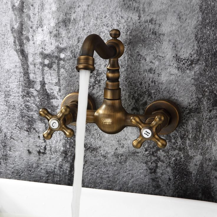 Ouku® Antique Inspired Bathroom Sink Faucet Wall Mount Solid Brass Big Discount Unique Designer Plumbing Fixtures =Faucet Lavatory Metal Basin Faucet Two Holes and Handles Bathtub Mixer Taps Bath Shower Ceramic Valve Included Vintage Curve Tall Spout Bar Faucets Bronze $75