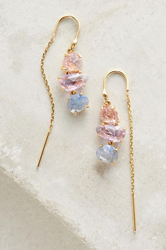 pastel crystals in gold aerrings |♦F&I♦