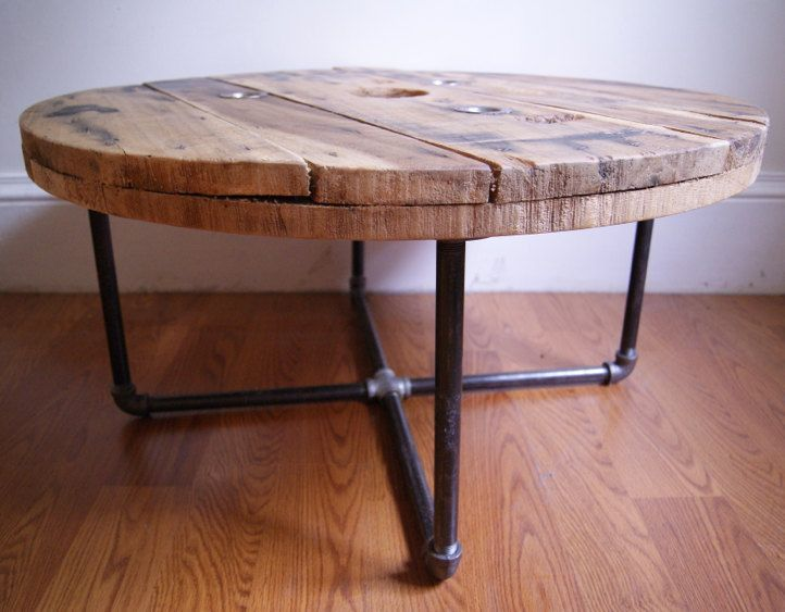 Reclaimed wood spool table idea. multiple sizes - nesting tables - copper pipes.