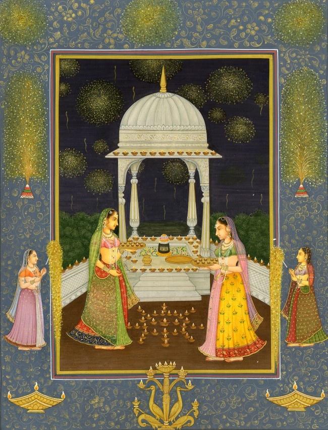 """Deepawali (Diwali) at the Shrine"" Mughal painting"