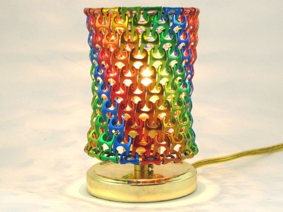 Pop Top can tab lamp.  I wonder how much soda and beer they had to drink till they could make it?  C/O Make Magazine