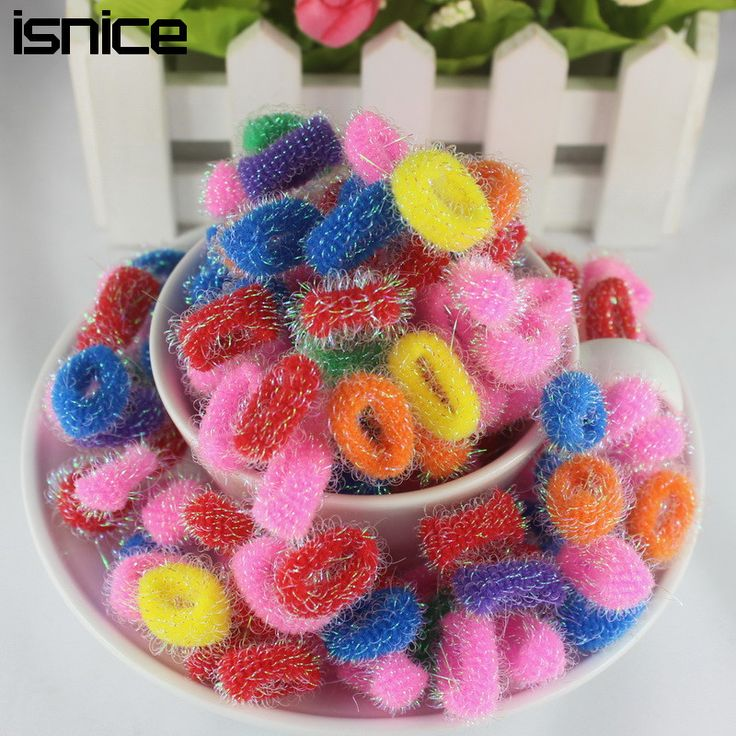 isnice 120pcs elastic headbands Children colorful small circle gold hair band headbands Gum For hair accessory rezinochki