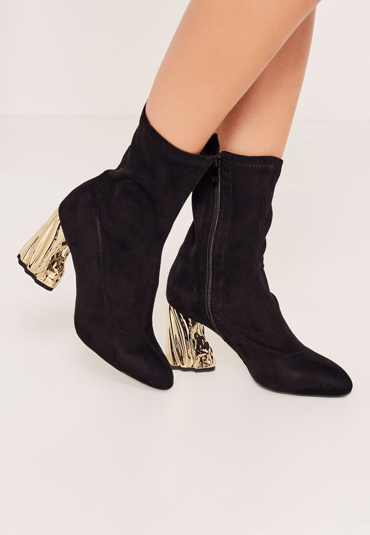 Missguided - Gold Crushed Detail Heeled Sock Boots