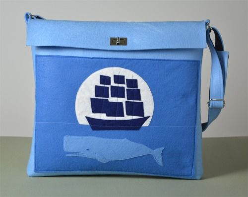 The Pointing Hound presents: WHALE MOON LIT WHALE AND BOAT blue felt bag available on:  https://www.etsy.com/shop/THEPOINTINGHOUND?ref=l2-shopheader-name