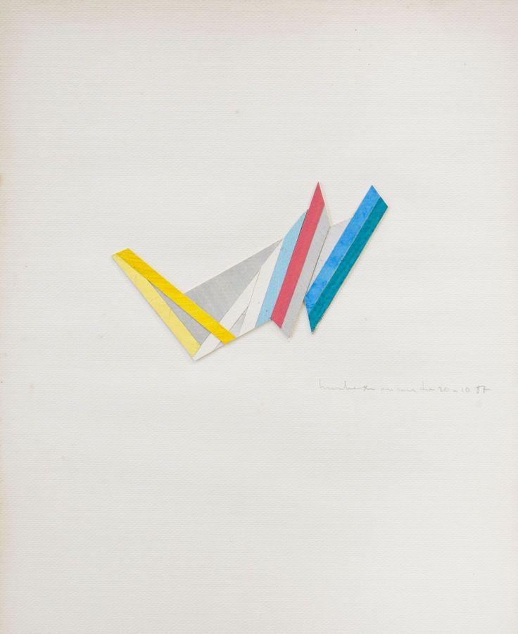 René Roche (1932-1992)  Composition, 1987  Trois collages sur papier, sous verre  Signés et datés '10-87' et '11-87' en bas à droite  40 x 30 cm.