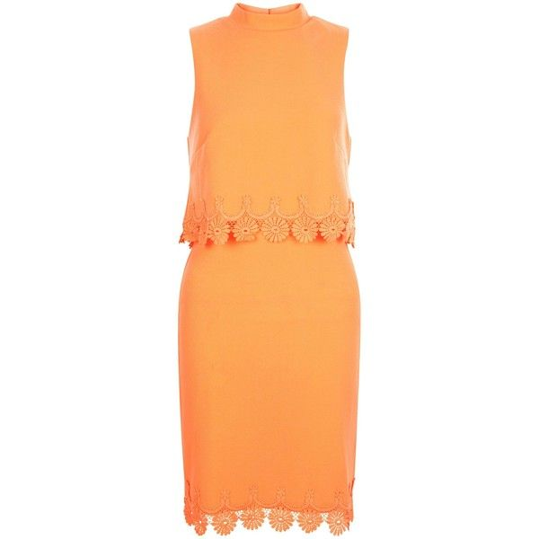 New Look Coral Crochet Trim Layered Dress ($29) ❤ liked on Polyvore featuring dresses, coral, coral dress, night out dresses, beige dress, new look dresses and double layer dress