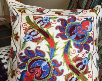 Suzani pillow case Real Uzbek SUZANI embroidered in Nurata, Bukhara, Samarkand, Shakhrisabz.