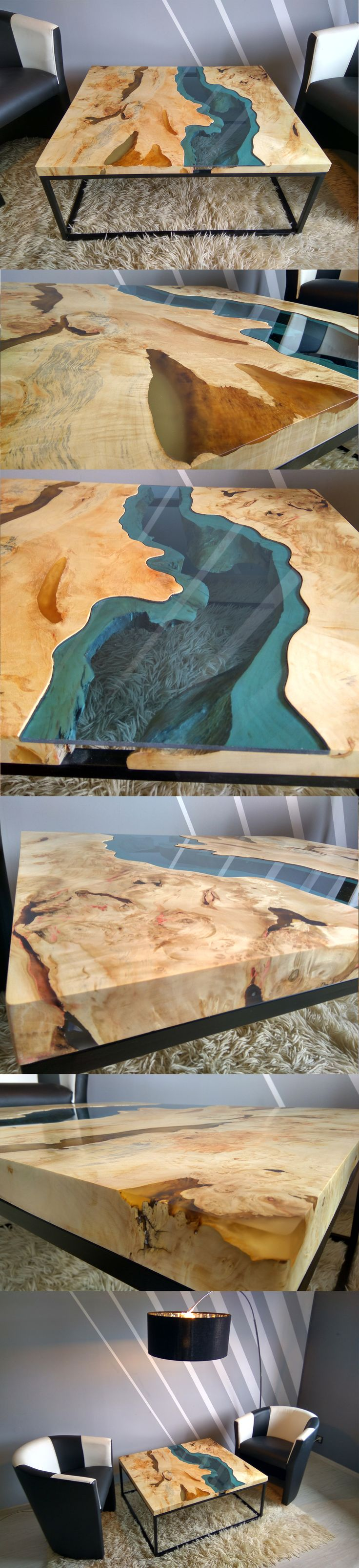 River coffee table made of old solid timber. Filled with transparent epoxy resin and blue transparent glass. Legs made of metal coated with mat black colour.  It's unique, one of a kind solid piece of wood. The unique combination of tree rings to bring out the effect of the variety of colors.  Dimensions: 98x84 cm and 40 cm height (centimeters) 38,5x33 in and 15,8 in height (inches)