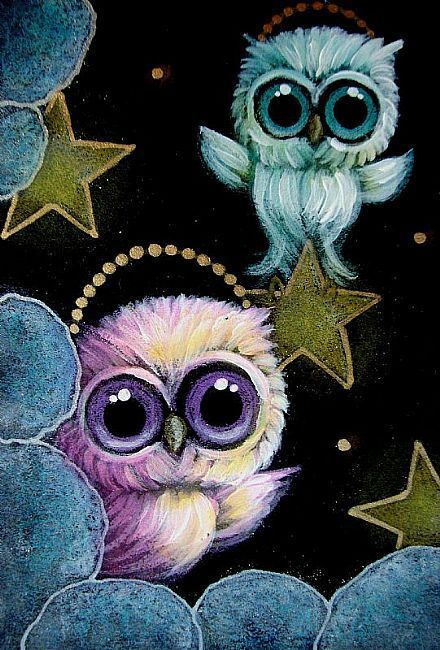 TINY ANGEL OWLS PLAYING WITH THE STARS... SO CUTE