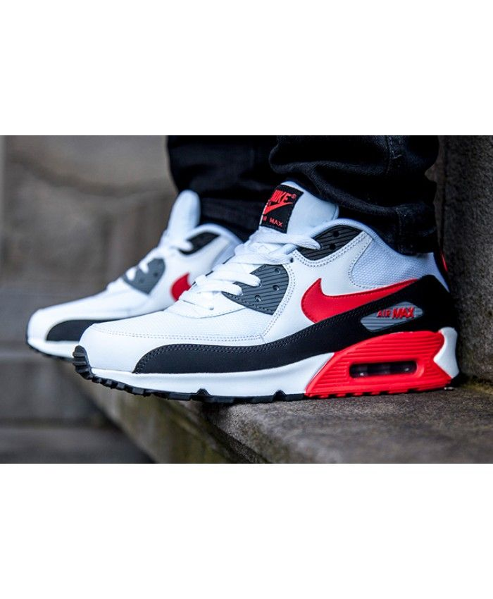 58e8b960a431 Nike Air Max 90 White Challenge Red Black Shoes